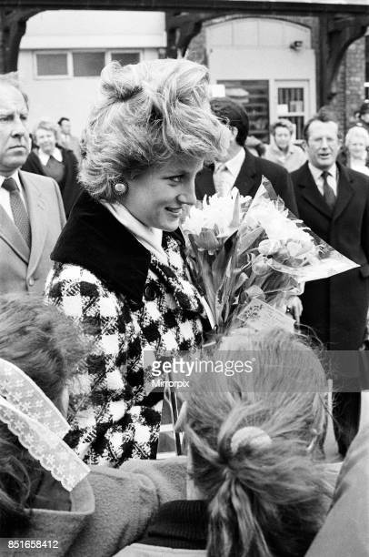 Princess Diana Princess of Wales seen here arriving at Middlesbrough Station during a visit to Teesside 18th March 1987