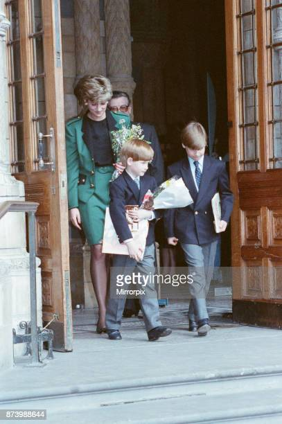 Princess Diana, Princess of Wales, takes her sons Prince William and Prince Harry to The National History Museum in London to the see Dinosaur...