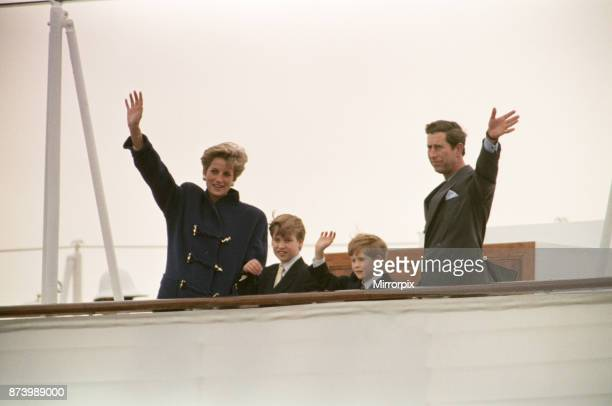 Princess Diana Princess of Wales The Prince of Wales Prince Charles Prince William and Prince Harry Wave Farewell To Toronto From The Royal Yacht...