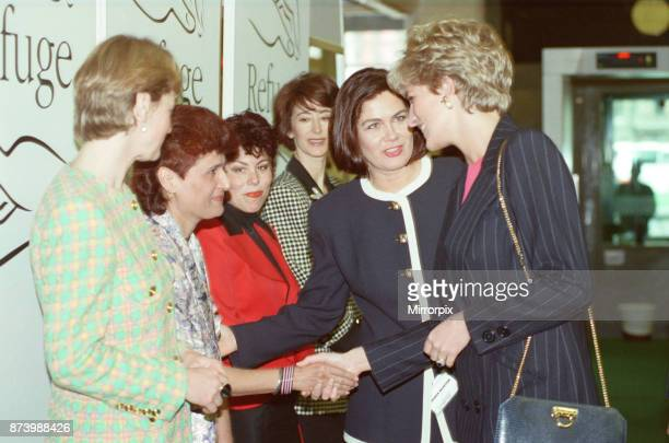 Princess Diana Princess of Wales visits the charity REFUGE Many women owe their survival to the west London rescue centre for battered women and the...