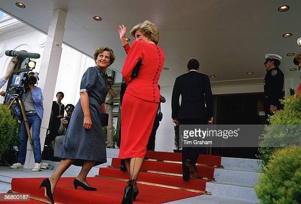 Princess Diana Princess of Wales waves to well wishers during a visit to Australia