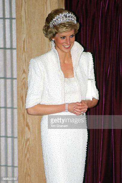 Princess Diana Princess of Wales wearing the 'Elvis dress' during a visit to the Culture Centre in Hong Kong