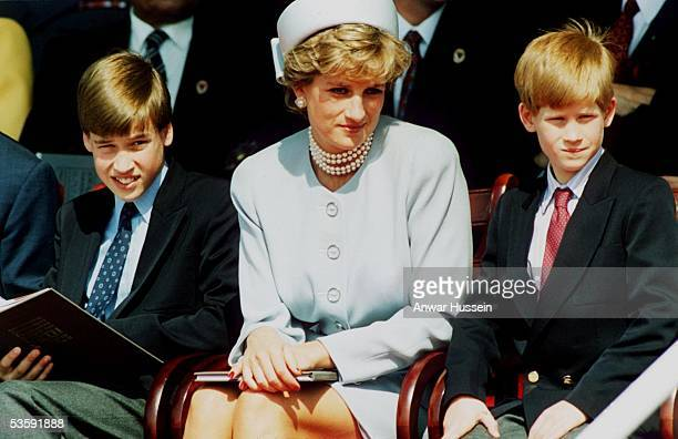 Princess Diana, Princess of Wales with her sons Prince William and Prince Harry attend the Heads of State VE Remembrance Service in Hyde Park on May...