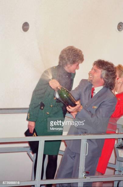 Princess Diana Princess of Wales with Virgin Atlantic CEO Richard Branson Today the Princess launches business tycoon Richard Branson's Virgin...