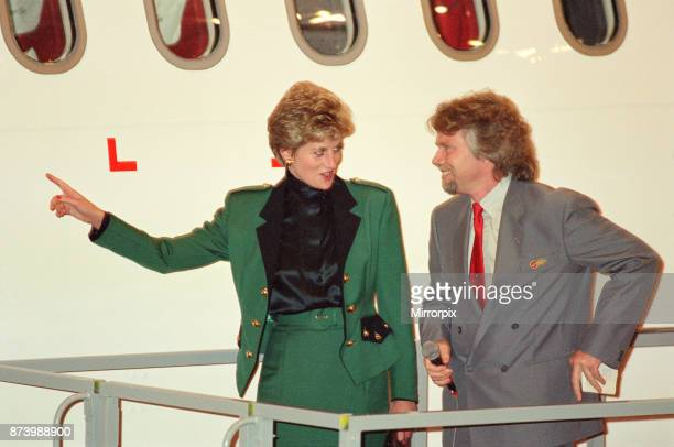 Princess Diana Princess of Wales with Virgin Atlantic CEO Richard Branson Today the Princess launches business tycoon Richard Branson's Virgin...