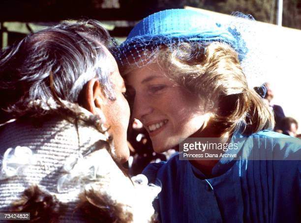 Princess Diana recieves a traditional Maori noserubbing greeting or Hongi during a visit to the Te PohooRawiri Marae in Gisborne New Zealand 24th...