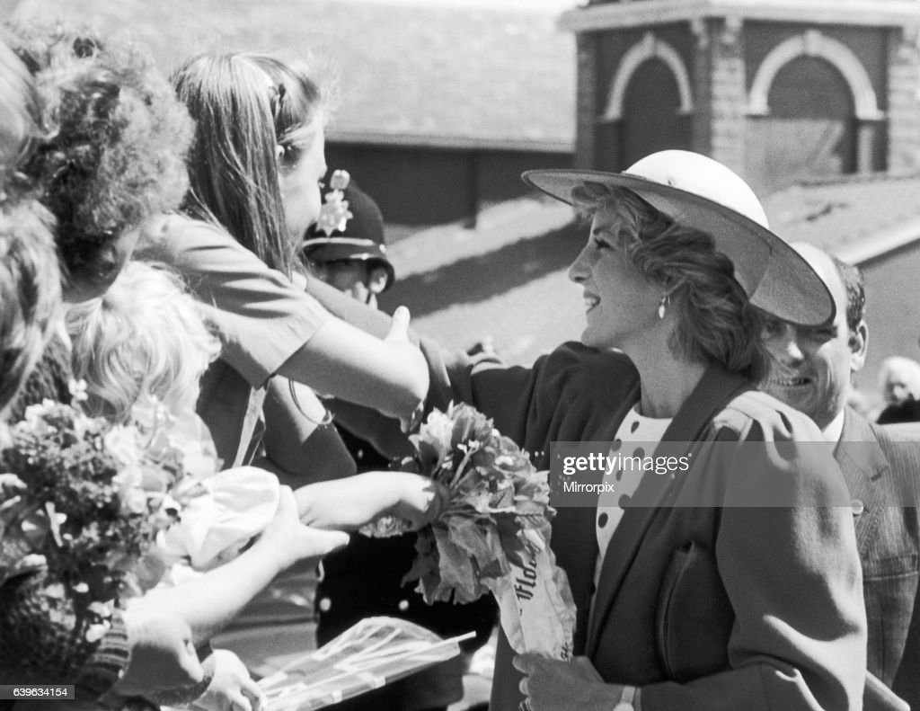 Princess Diana shaking hands with well wishers at the Middlesbrough Enterprise Centre during a royal tour of Teesside. 16th July 1985.