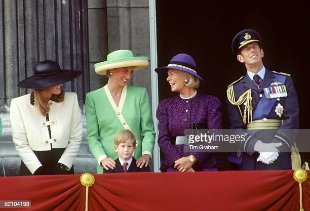 Princess Diana Sharing A Joke With The Duchess Of Kent During The Battle Of Britain Anniversary Parade
