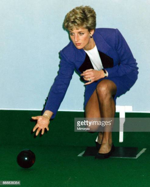 Princess Diana shows she is far from green in the bowling stakes as she joined in the game at the Glasgow Centre for the Deaf which she officially...
