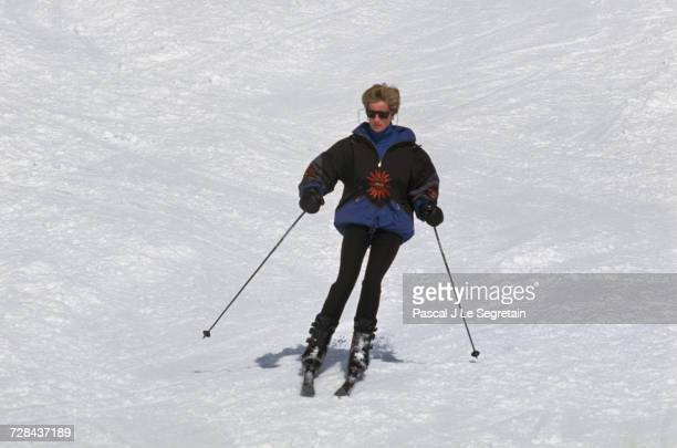 Princess Diana skiing during a holiday in the resort of Lech Austria 25th March 1994