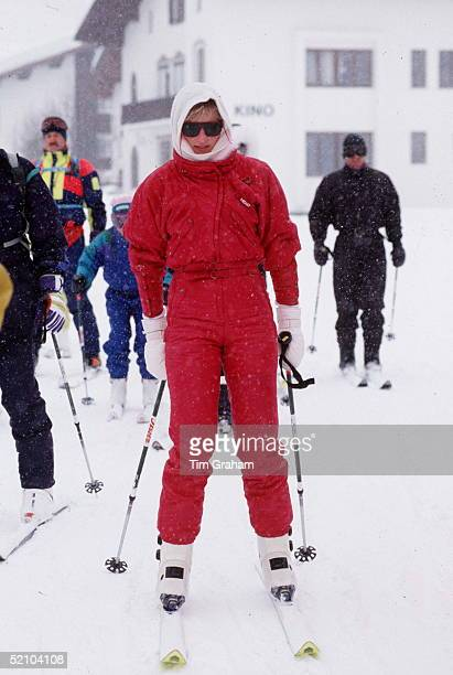 Princess Diana Skiing Wearing A Snood On Her Head For Warmth