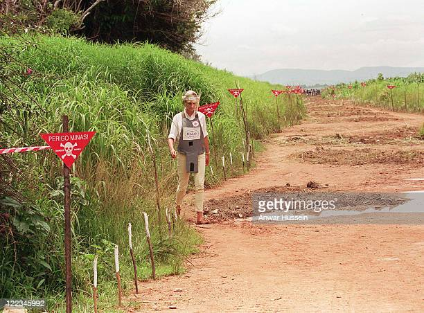 Princess Diana takes part in The HALO Trust mine clearing work in 1997 in Angola. Prince Harry is now visiting the HALO Trust to learn about the...