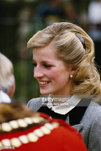 Princess Diana talking to a mayor during a visit to Newham in London, November 1984.