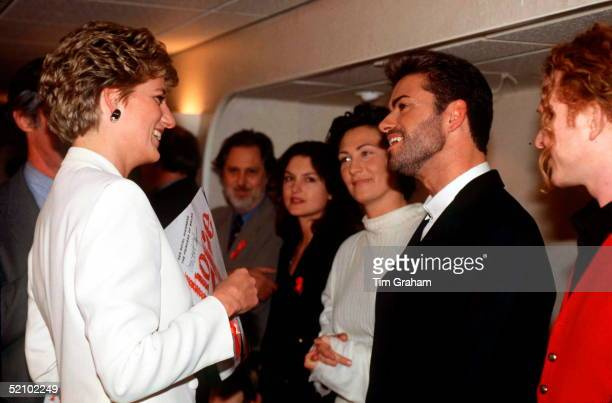 "Princess Diana Talking To Pop Singers George Michael, Kd Lang And Mick Hucknall At The World Aids Day Annual ""concert Of Hope"" At Wembley Arena To..."