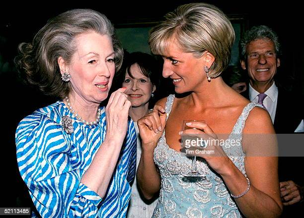 Princess Diana Talking With Raine Comtesse De Chambrun At A Private Viewing And Reception At Christies Of Dresses Worn By The Princess That Are For...