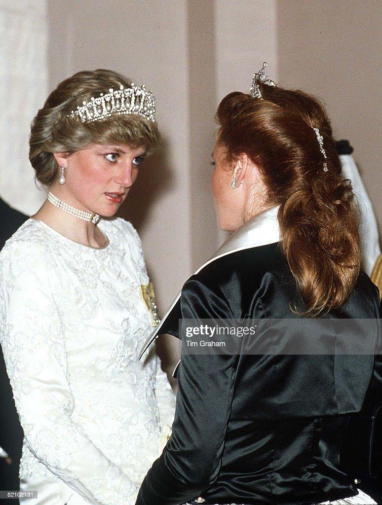 Diana And Sarah Ferguson Claridges : News Photo