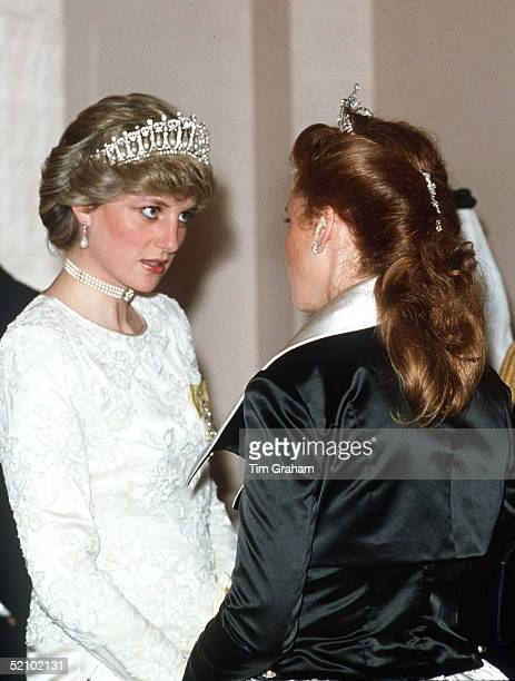 Princess Diana Talking With Sarah Duchess Of York At A Banquet At Claridges Hotel In London The Pearl And Diamond Tiara Worn By Princess Diana Was A...