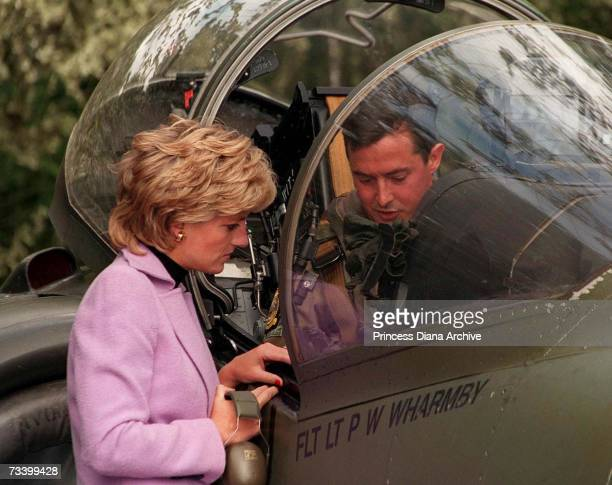 Princess Diana talks to a Harrier pilot during a visit to RAF Wittering Lincolnshire September 1995