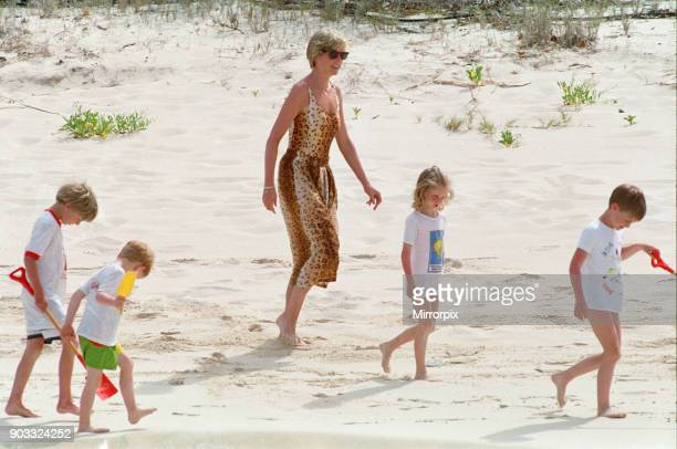 Princess Diana, The Princess of Wales and her children Prince William and Prince Harry, on holiday on Necker Island, owned by Richard Branson. The...