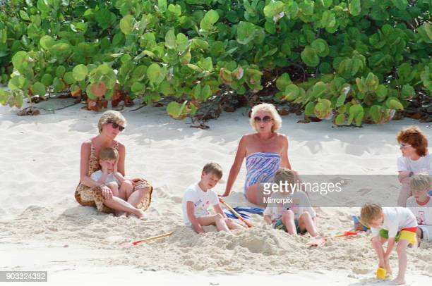 Princess Diana The Princess of Wales and her children Prince William and Prince Harry on holiday on Necker Island owned by Richard Branson The...