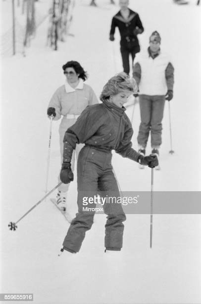 Princess Diana the Princess of Wales and Prince Charles the Prince of Wales on a skiing holiday in Liechtenstein Picture taken 24th January 1985
