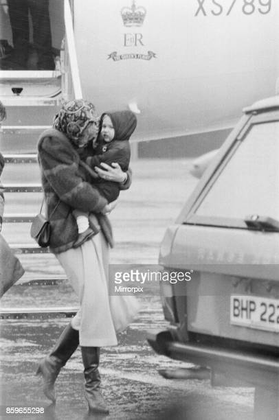 Princess Diana the Princess of Wales arrives at Aberdeen with her son Prince William A blizzard gail force winds and hail met the Royal mother and...