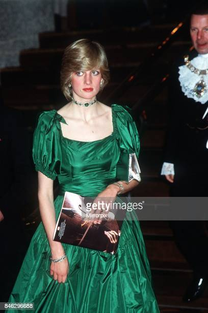 Princess Diana the Princess of Wales attends a charity concert at the Barbican given as a belated wedding gift by Russian cellist Mstislav...