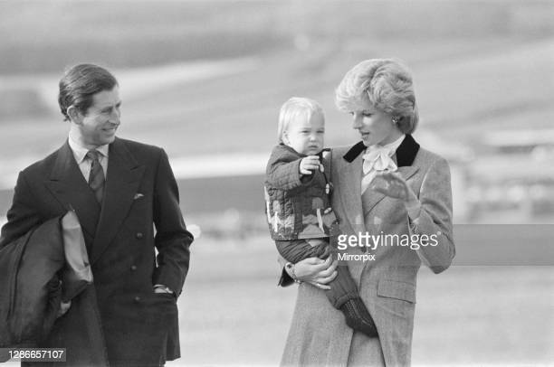 Princess Diana, The Princess of Wales, holds her son Prince William, before they board the royal plane at Aberdeen Airport, Scotland, Within this...