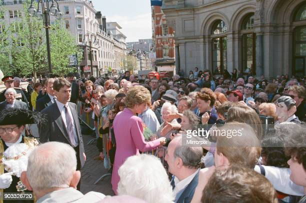 Princess Diana The Princess of Wales meets the people of Birmingham Midlands England as she opens Victoria Square Picture taken 6th May 1993