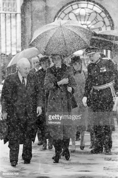 Princess Diana the Princess of Wales visits Cambridge to talk to cot death parents On arrival The Princess walked through a snow storm Picture taken...
