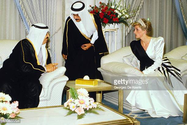Princess Diana the Princess of Wales wearing an evening dress designed by the Emmanuels attends a dinner given by the Crown Prince in Saudi Arabia on...