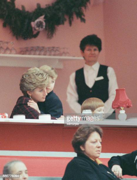Princess Diana, The Princess of Wales, with her sons Prince William and Prince Harry. They are pictured at The International Horse Show in Olympia,...