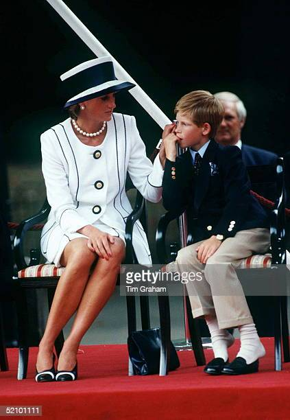 Princess Diana Touching Prince Harry During The Vj Day Celebrations