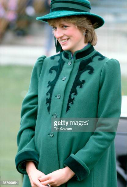 Princess Diana visiting Bristol during her pregnancy with her first son Prince William Diana is wearing a coat designed by Bellville Sassoon and a...