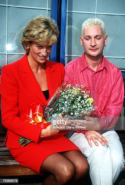 Princess Diana visiting patients and staff at the London Lighthouse a centre for people affected by HIV and AIDS in London October 1996