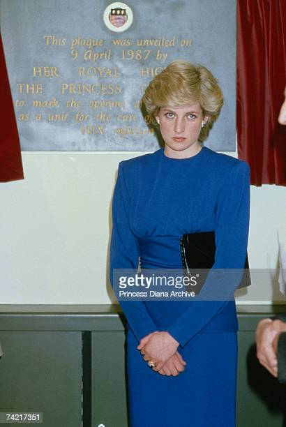 Princess Diana visiting the Broderie AIDS ward at the Middlesex Hospital in London 9th April 1987