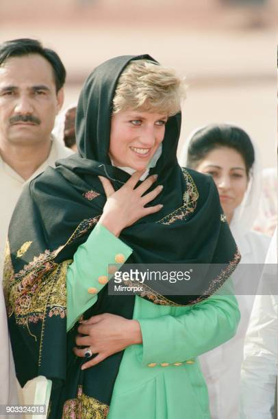 Princess Diana visits Pakistan in September 1991 Princess Diana is pictured during a visit to the Badshahi Mosque in Lahore Picture taken 29th...