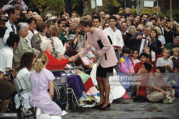 Princess Diana visits patients at a hospice in Toronto 25th October 1991