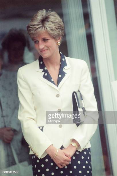 Princess Diana visits the thermal clothing expert company Damart at their headquarters in Bingley Bradford West Yorkshire in 1991 picture taken 12th...