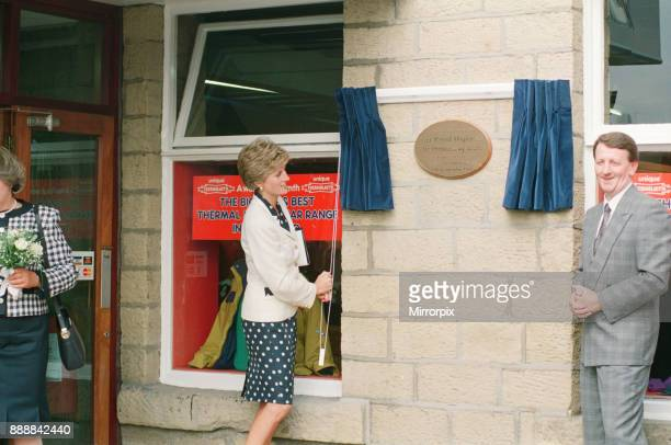 Princess Diana visits the thermal clothing expert company Damart at their headquarters in Bingley Bradford West Yorkshire in 1991 Princess Diana...