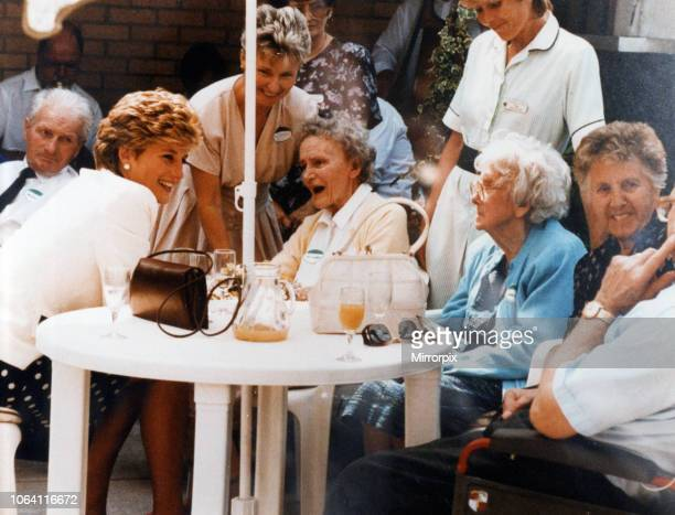 Princess Diana visits Wales Wednesday 30th June 1993 Princess Diana chats with residents after opening Burges House Nursing Home in Newport Road
