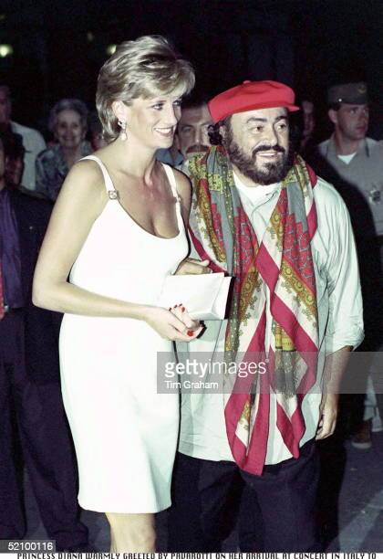 Princess Diana Warmly Greeted By Pavarotti On Her Arrival At Concert In Italy To Raise Money For Bosnian Children