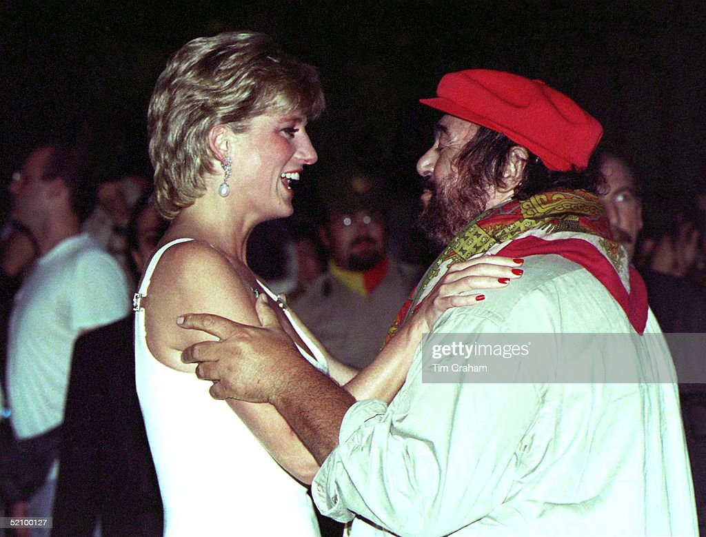 Princess Diana Warmly Greeted By Pavarotti On Her Arrival At Concert In Italy To Raise Money For Bosnian Children.