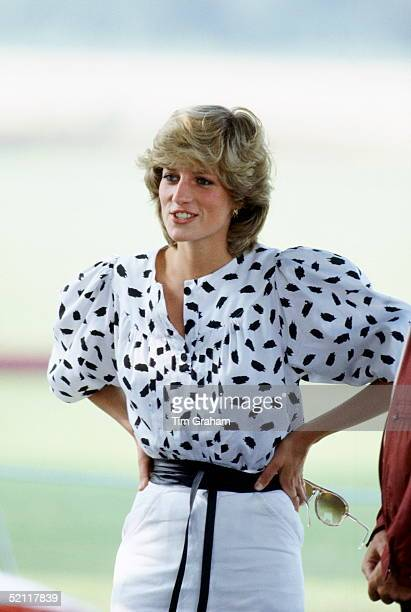 Princess Diana Watching A Polo Match In Cirencester.