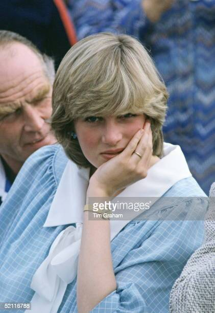 Princess Diana Watching Polo In The New Forest. She Is Pregnant With Her First Baby, Prince William.