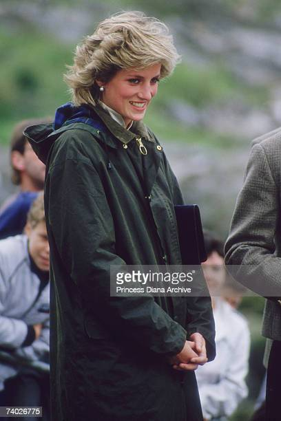 Princess Diana wearing a Barbour coat during a visit to Castlebay on the island of Barra in the Outer Hebrides July 1985