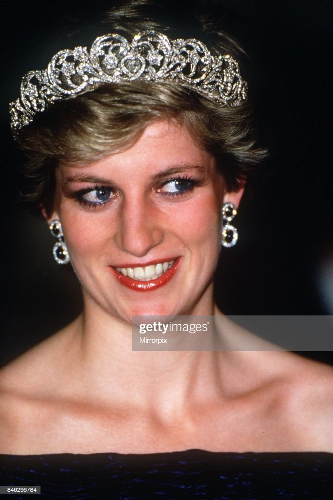 Princess Diana wearing a black dress and tiara attends at a banquet hosted by the President at Ajuda Palace in Lisbon on her official visit to Portugal, 11th February 1987.