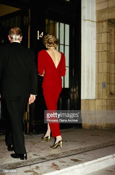 Princess Diana wearing a Bruce Oldfield gown attending a ball for the charity Birthright at the Albert Hall October 1985