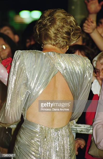 Princess Diana wearing a Bruce Oldfield gown to a film premiere in Melbourne November 1985