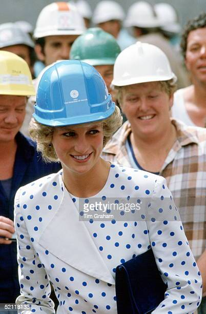 Princess Diana Wearing A Builder's Hard Hat Helmet With A Suit Designed By Fashion Designer Jan Van Velden For A Visit To A Building Site In Canberra...